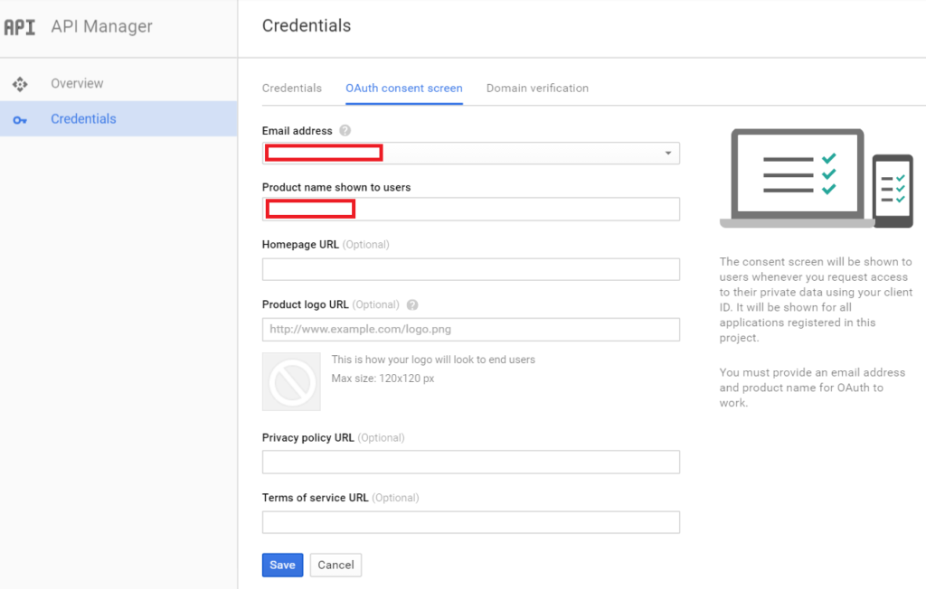 create app - consent screen