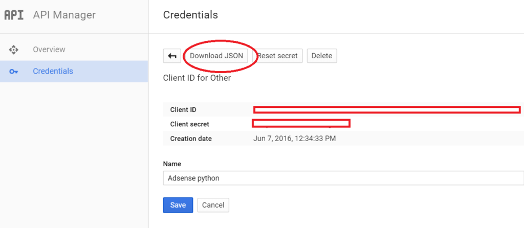 create app - download secret json