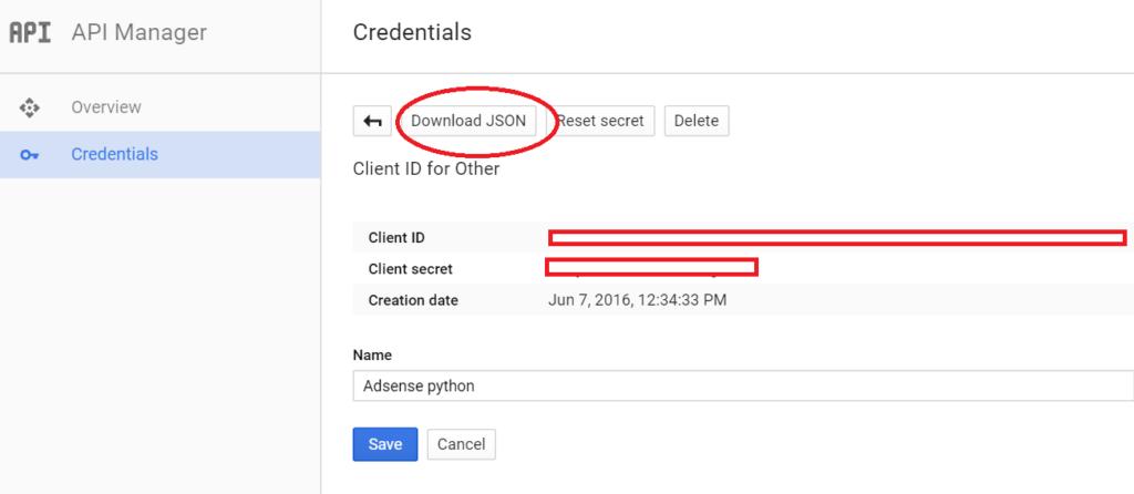 create app - download secret json