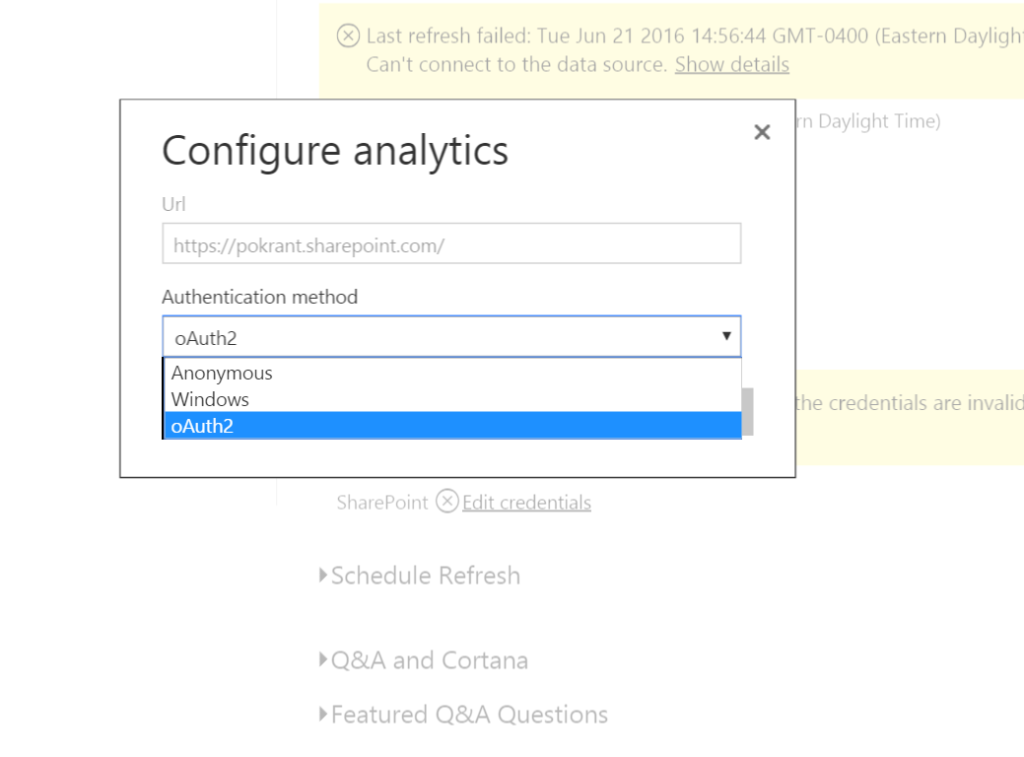 powerbi sharepoint dataset - update password-02