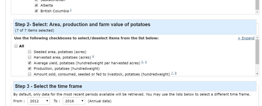 Excel Power Query tutorial using Canadian potato production